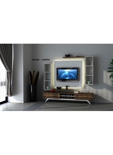 Sanal Mobilya Hayal 125568 Tv Ünitesi Leon Ceviz/Parlak Beyaz Beyaz